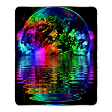 Load image into Gallery viewer, Blacklight Rainbow Solar Flare Fleece Sherpa Blankets