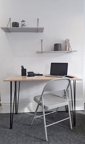 SCANDI HOME OFFICE DESK WITH HAIRPIN LEGS