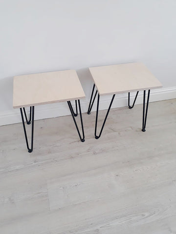 PAIR OF SCANDI LOW BEDSIDE TABLES