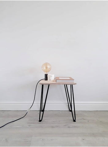 SCANDI LOW BEDSIDE TABLE WITH HAIRPIN LEGS