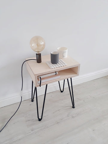 SCANDI OPEN BEDSIDE TABLE WITH HAIRPIN LEGS