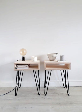 PAIR OF SCANDI OPEN BEDSIDE TABLES