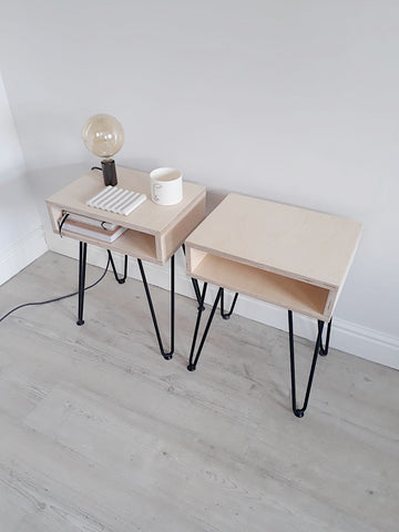 PAIR OF SCANDI OPEN SIDE TABLES