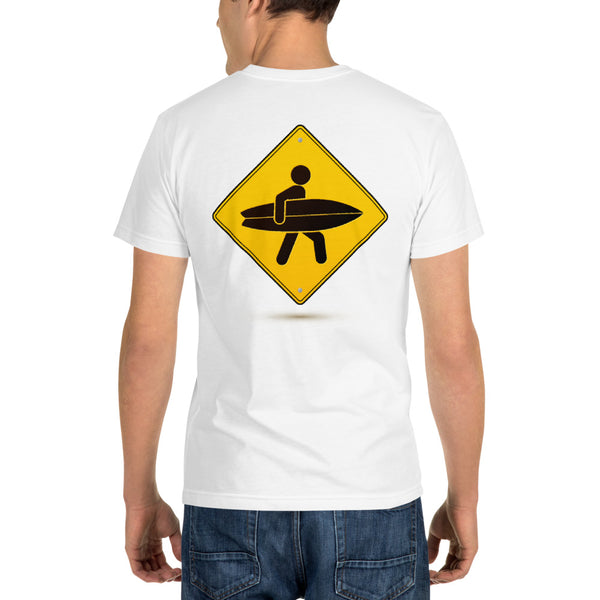 Surfer Caution Sign - White Sustainable T-shirt