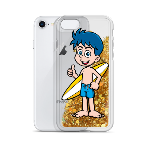 Blue Haired Surfer Liquid Glitter iPhone Case