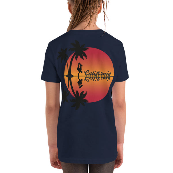CARDIFF Skateboarder Sunset - Youth Short Sleeve T-Shirt
