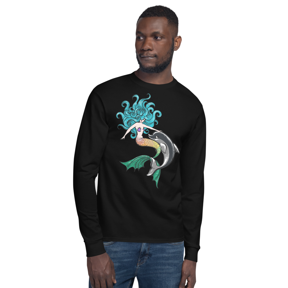 Mermaid with Dolphin - Champion Long Sleeve T-Shirt