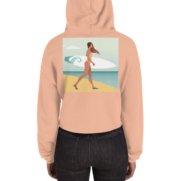 Walking Surfboard Woman - Crop Hoodie