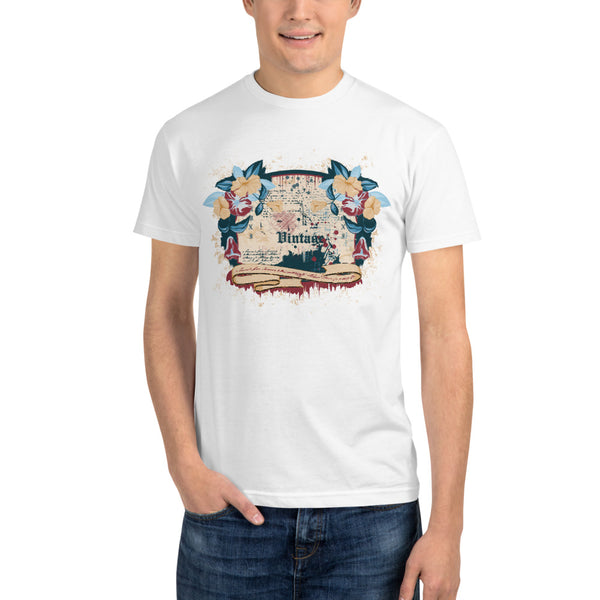 Vintage Floral White - Sustainable T-shirt