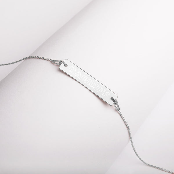 CARDIFF - Outline Engraved Silver Bar Chain Necklace