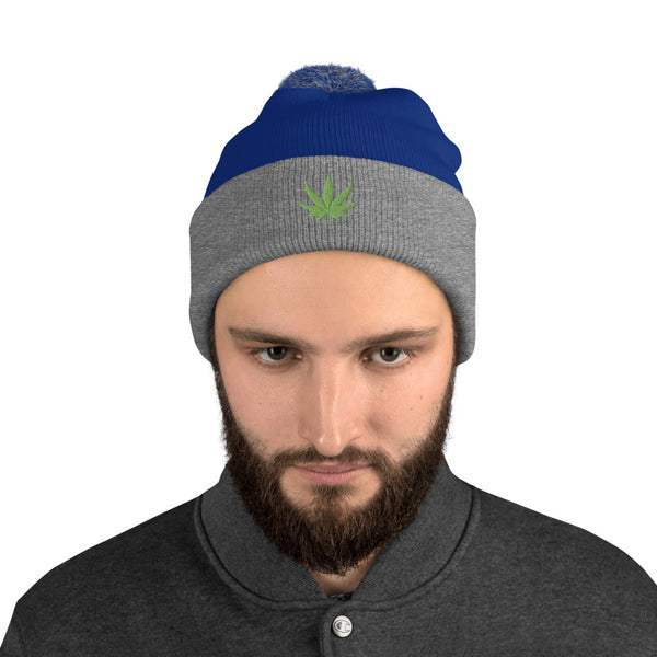 Cannabis Leaf - Beanie with Pom-Pom