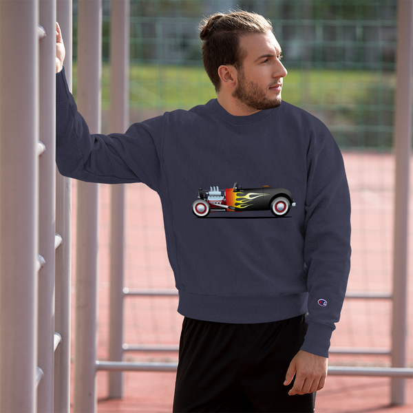 Vintage Hot Rod with Flames - Champion Sweatshirt