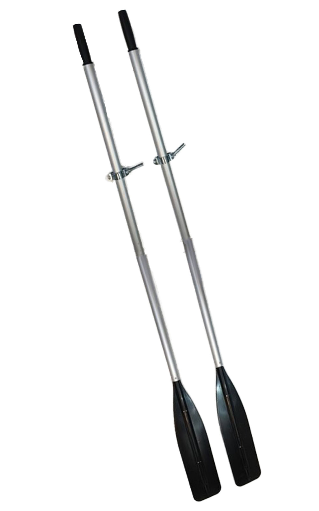 pair of aluminum oars with black paddles