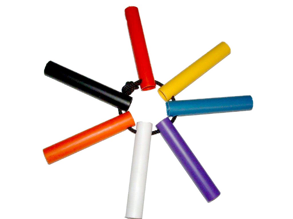 Seven colours of paddle shafts