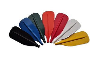 Seven colours of rafting paddles