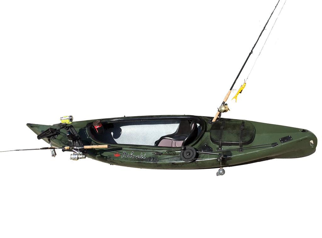 10' green & black fishing kayak with fishing gear
