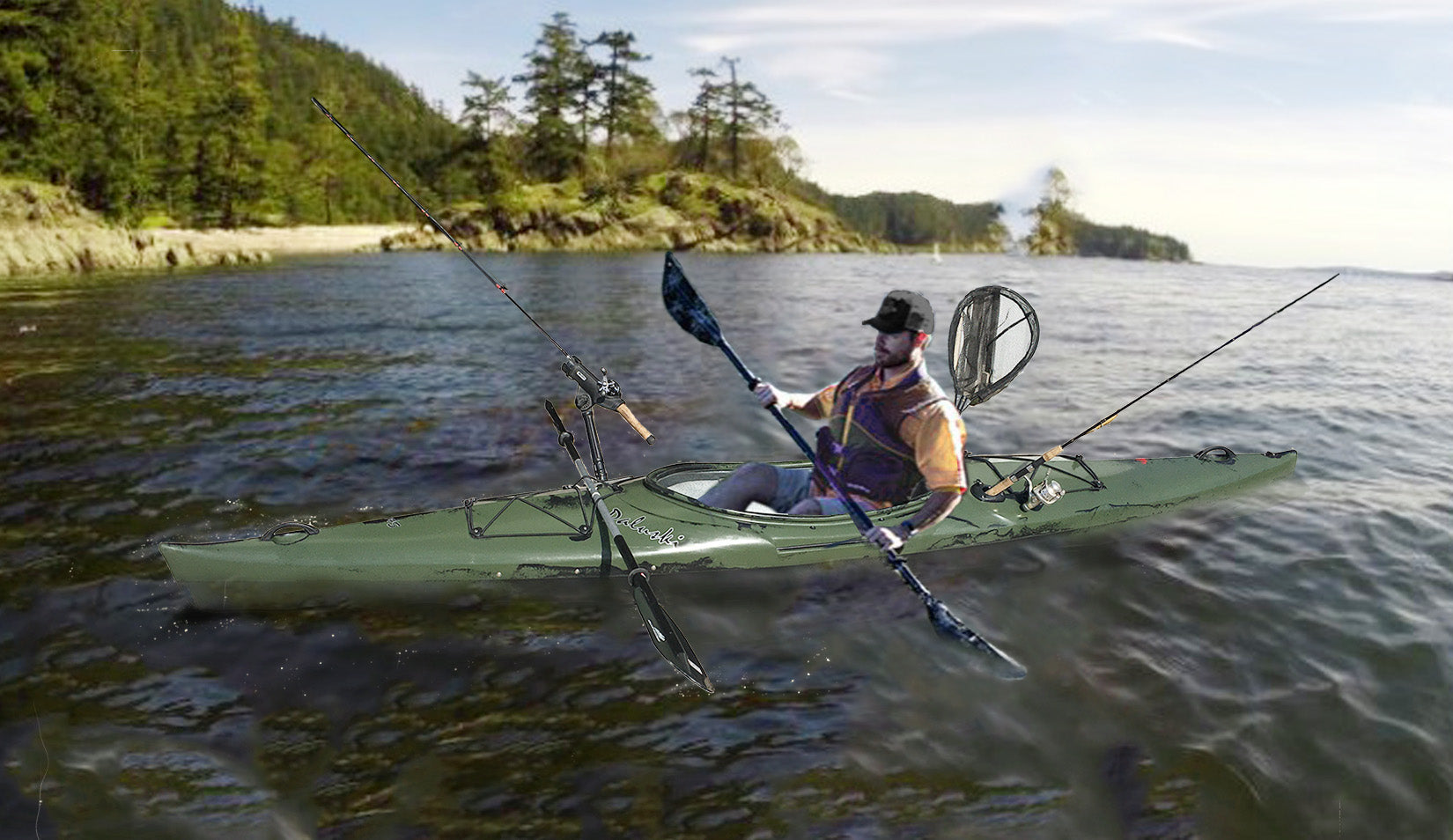 man sitting in green fishing kayak