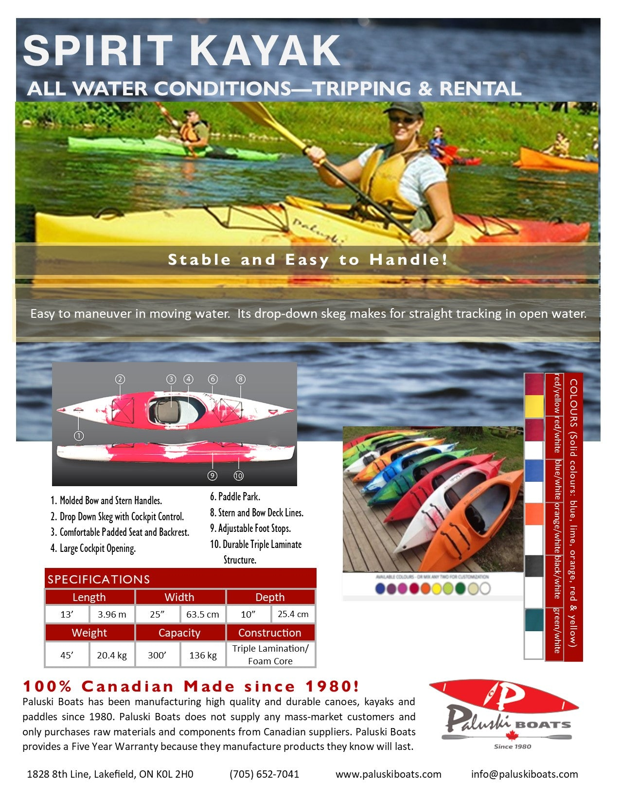 Spirit Kayak Info Sheet