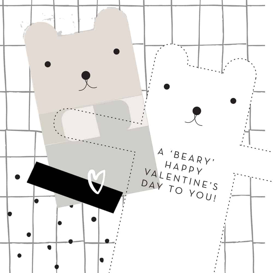 Beary Happy Valentine Card - Wee Gallery | High-Contrast Newborn & Baby Developmental Toys & Gifts