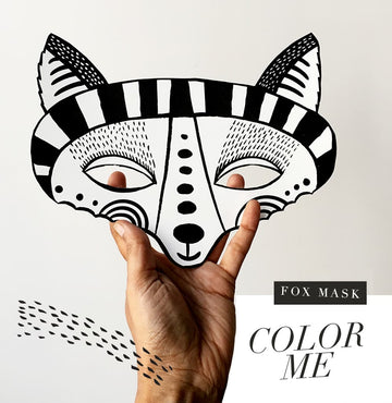 Color in Fox Mask - Wee Gallery | Smart Art for Growing Minds | Modern Gifts & Decor