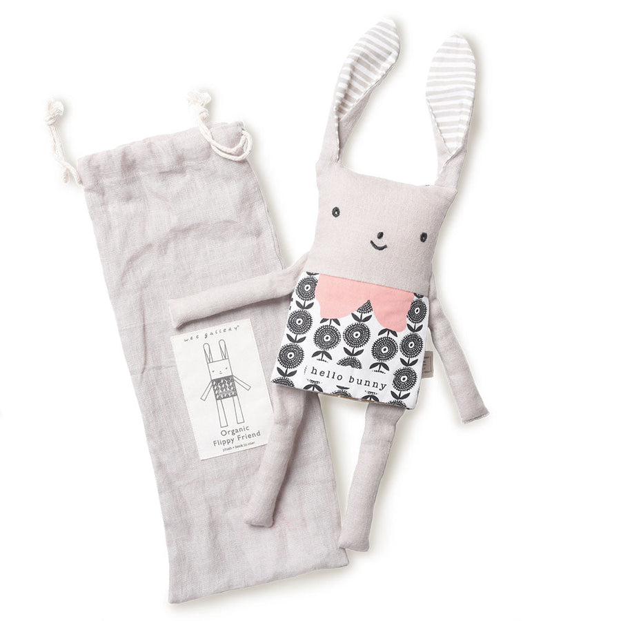 Organic Bunny Flippy Friend - Wee Gallery | High-Contrast Newborn & Baby Developmental Toys & Gifts