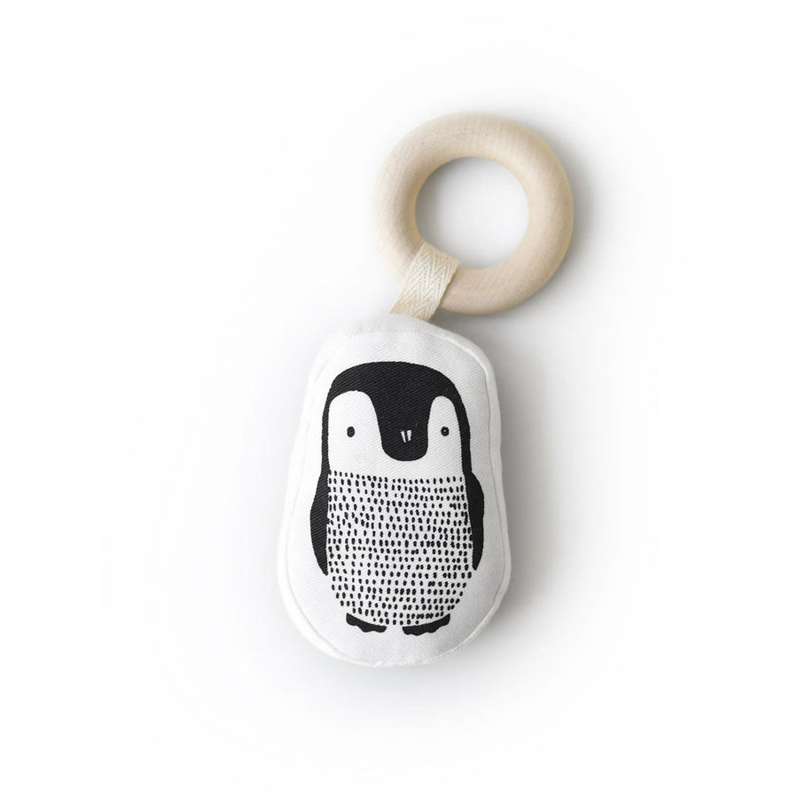Organic Teether - Penguin - Wee Gallery | High-Contrast Newborn & Baby Developmental Toys & Gifts