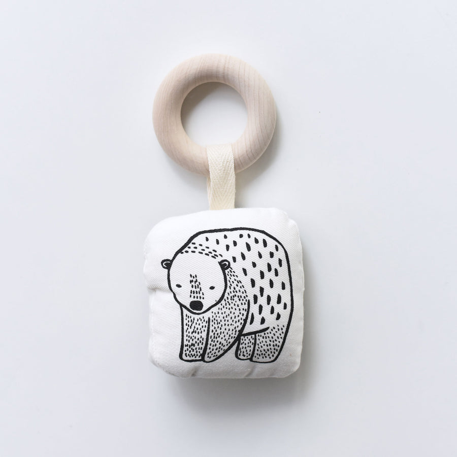 Organic Teether - Bear - Wee Gallery | High-Contrast Newborn & Baby Developmental Toys & Gifts