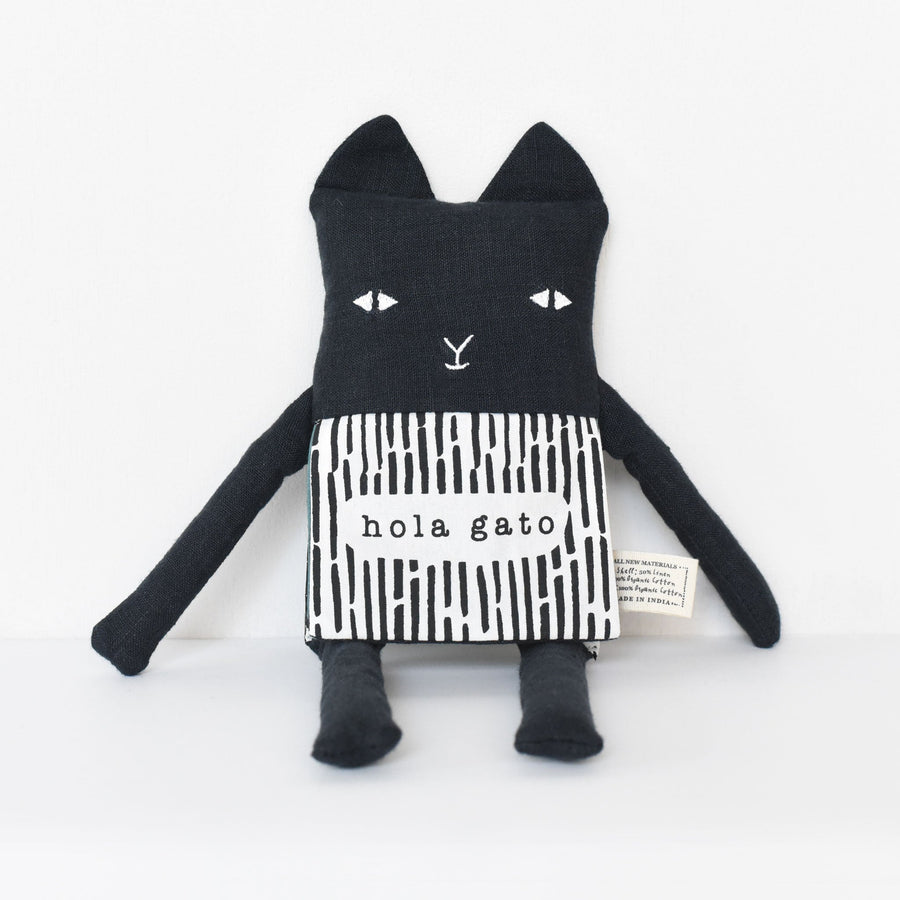 Organic Cat Flippy Friend (Spanish Edition) - Wee Gallery | High-Contrast Newborn & Baby Developmental Toys & Gifts