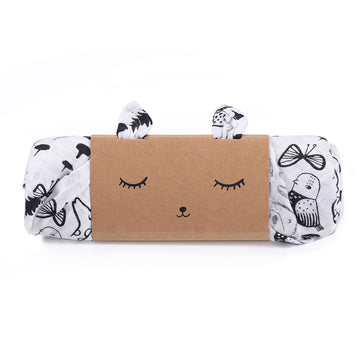 Organic Muslin Swaddle - Wild - Wee Gallery | High-Contrast Newborn & Baby Developmental Toys & Gifts