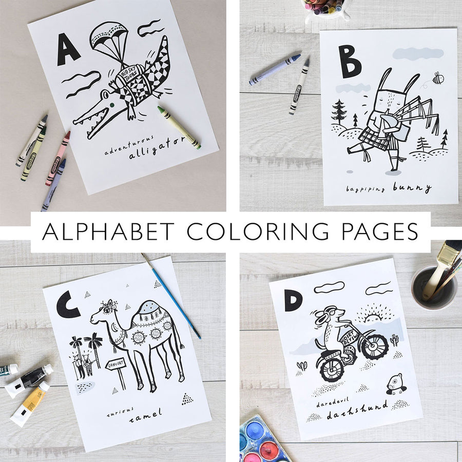 Coloring Book Pages - Animal Alphabet A-Z