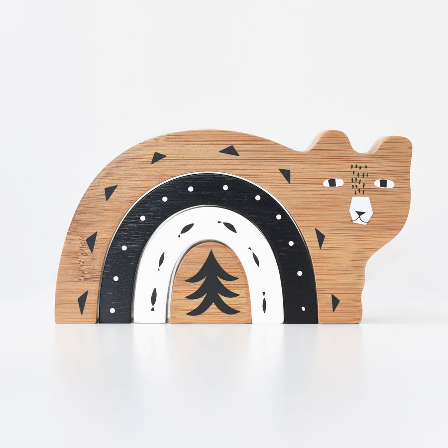 Bamboo Nesting Bear - Wee Gallery | High-Contrast Newborn & Baby Developmental Toys & Gifts