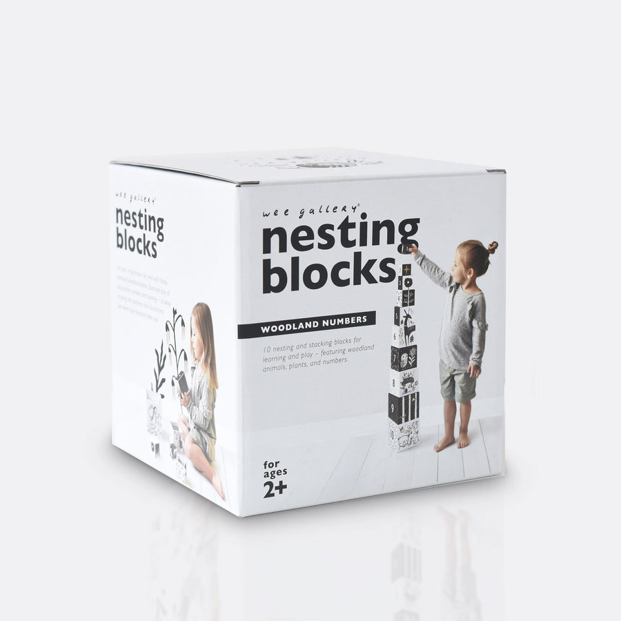 Nesting Blocks - Woodland Numbers - Wee Gallery | High-Contrast Newborn & Baby Developmental Toys & Gifts