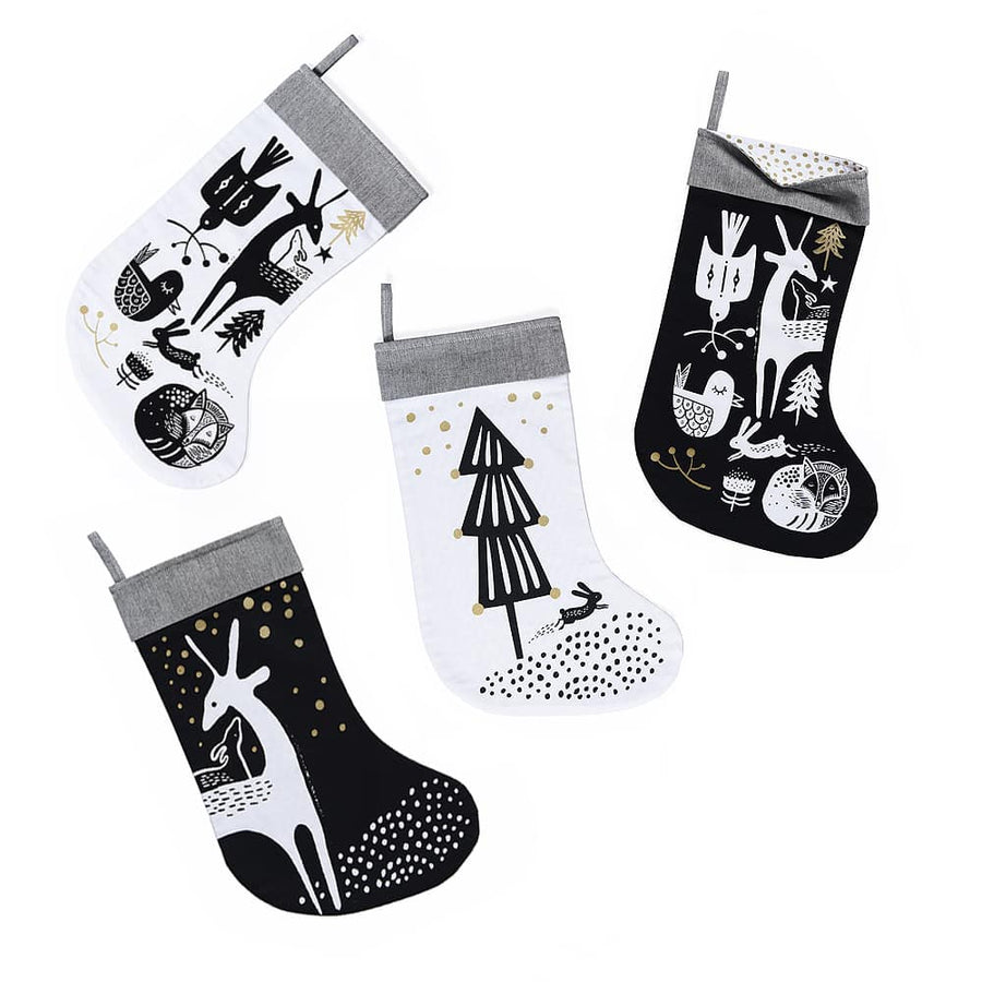 Winter Animals Stocking - Black on White - Wee Gallery | High-Contrast Newborn & Baby Developmental Toys & Gifts