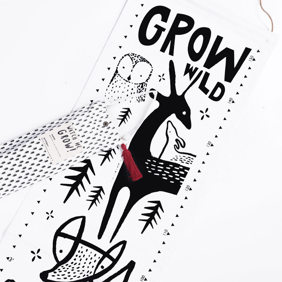 Canvas Growth Chart - Woodland - Wee Gallery | High-Contrast Newborn & Baby Developmental Toys & Gifts