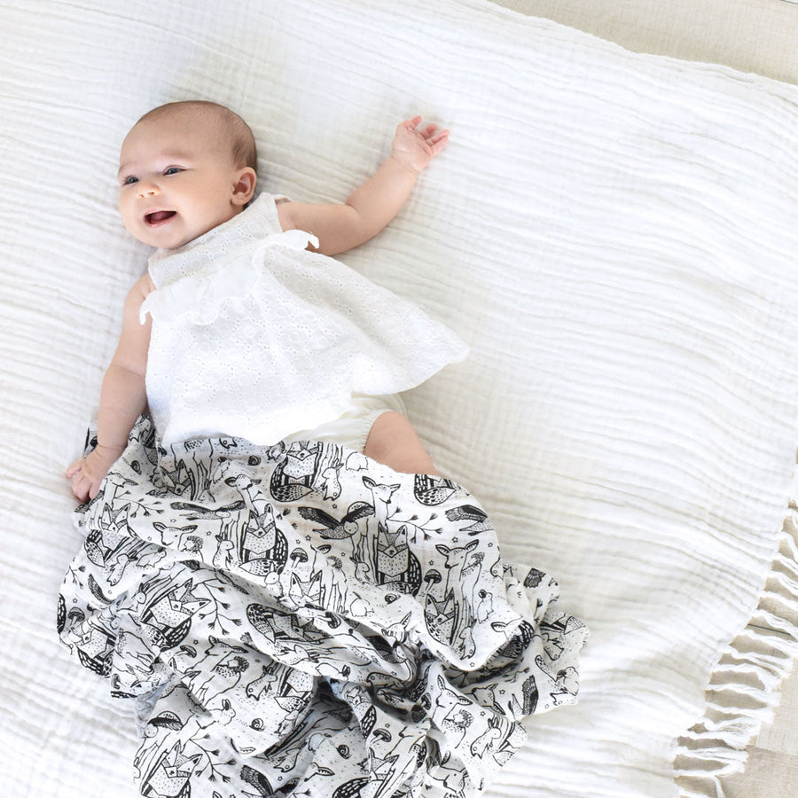 Organic Muslin Swaddle - Forest - Wee Gallery | High-Contrast Newborn & Baby Developmental Toys & Gifts