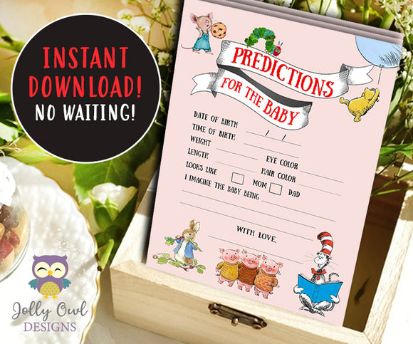 Book Themed Baby Shower Card - Baby Predictions - Jolly Owl Designs