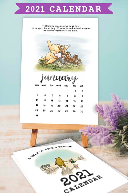 2021 Calendar Classic Winnie The Pooh Quotes Digital Download Jolly Owl Designs