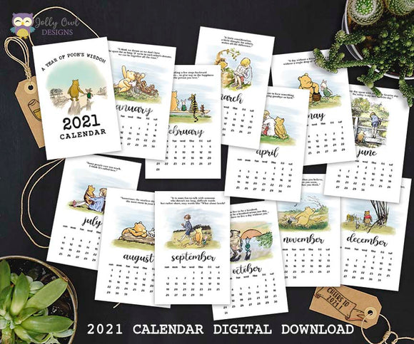 2021 Calendar Classic Winnie The Pooh Quotes Digital Download