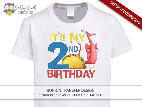 DRAGONS LOVE TACOS Iron On Transfer Design-2nd Birthday Shirt