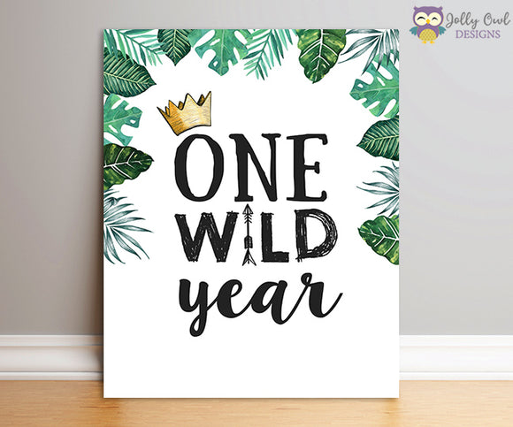 Where The Wild Things Are Party Sign - One Wild Year