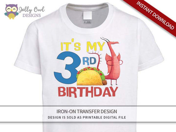 DRAGONS LOVE TACOS Iron On Transfer Design-3rd Birthday Shirt