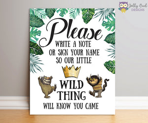 Where The Wild Things Are Party Sign - Please Write A Note