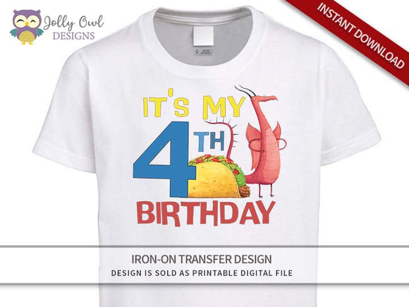 DRAGONS LOVE TACOS Iron On Transfer Design-4th Birthday Shirt