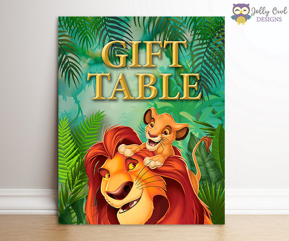 The Lion King Party Signs - Gift Table Sign