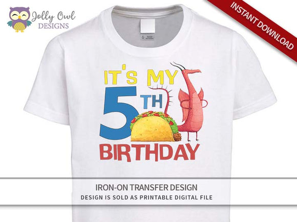 DRAGONS LOVE TACOS Iron On Transfer Design-5th Birthday Shirt