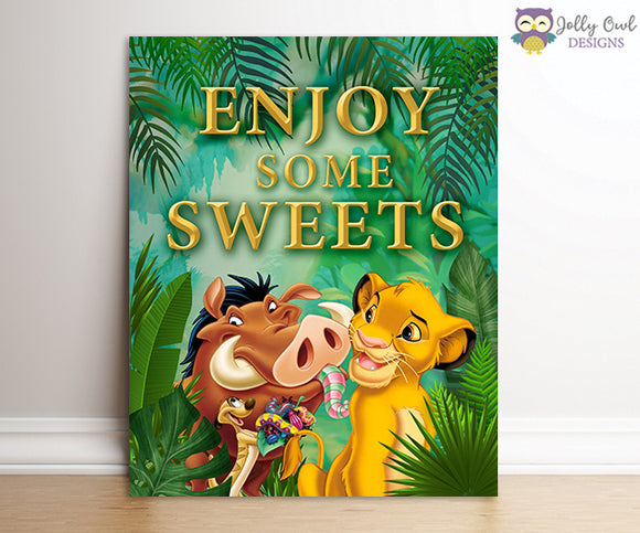 The Lion King Party Signs - Sweet Treats