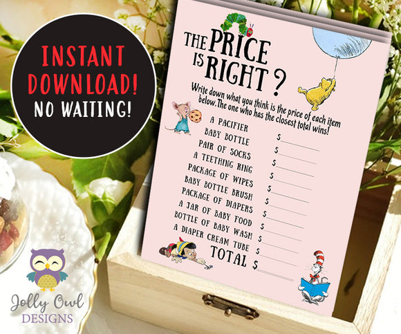 Book Themed Baby Shower Game Card - The Price is Right