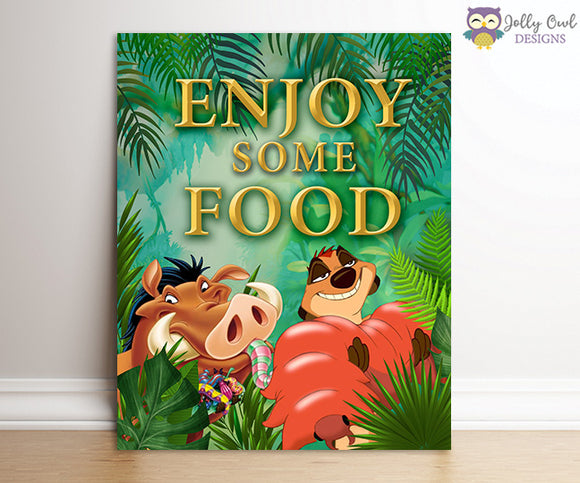 The Lion King Party Signs - Enjoy Some Food