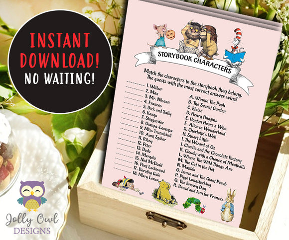 Book Themed Baby Shower Game - Character Match - Jolly Owl Designs