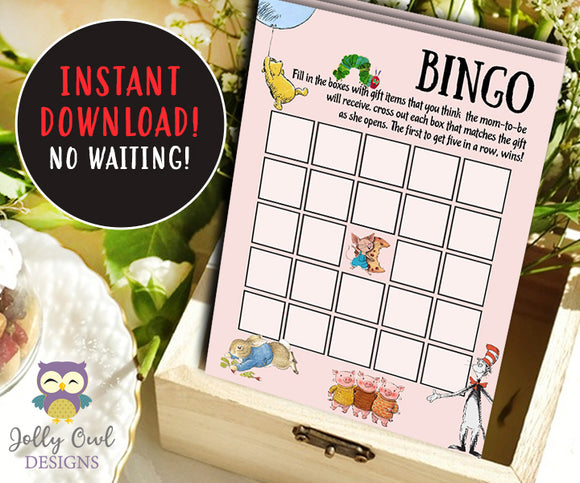 Book Themed Baby Shower BINGO Game Card - Jolly Owl Designs